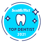 2021 SeattleMet Top Dentist badge